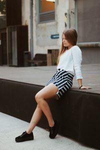 falda asimetrica rayas de evillaclothes